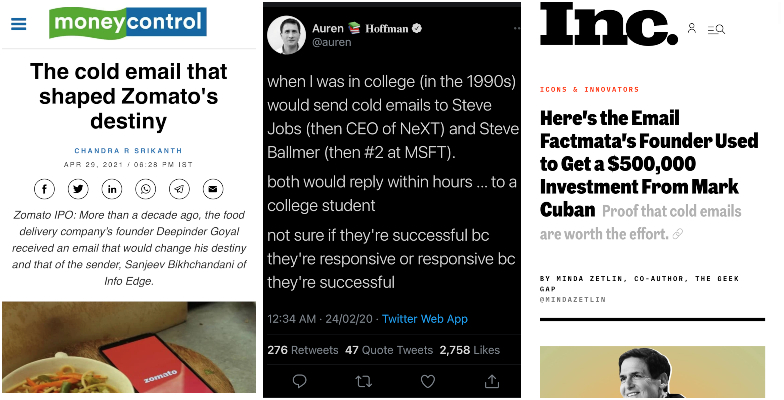 A collage of cold email success story proofs