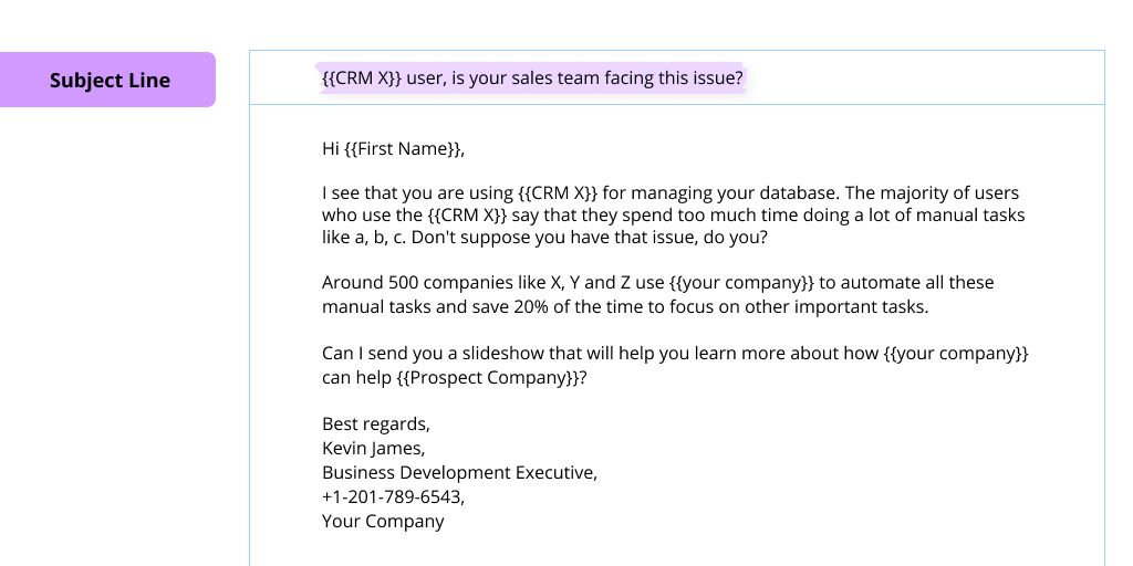 A screenshot of a cold email with its subject line highlighted