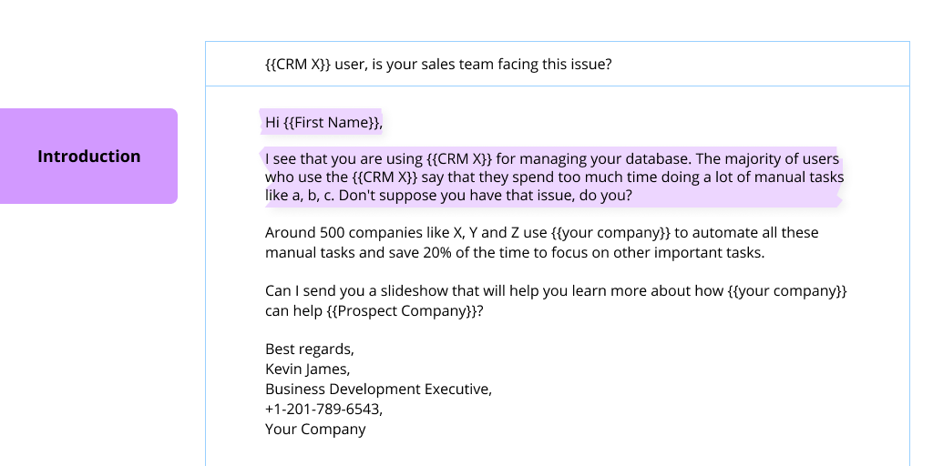 A screenshot of a cold email with its introduction highlighted