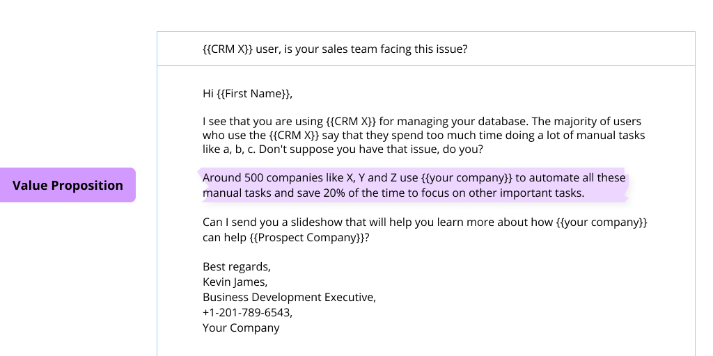 A screenshot of a cold email with its value proposition highlighted