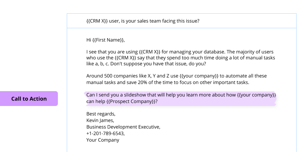 A screenshot of cold email with its call to action highlighted