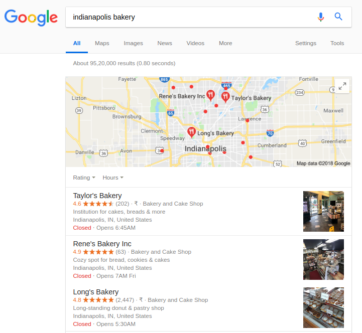 Results on Google SERP when searching for 'Indianapolis bakery'