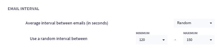Random intervals between emails