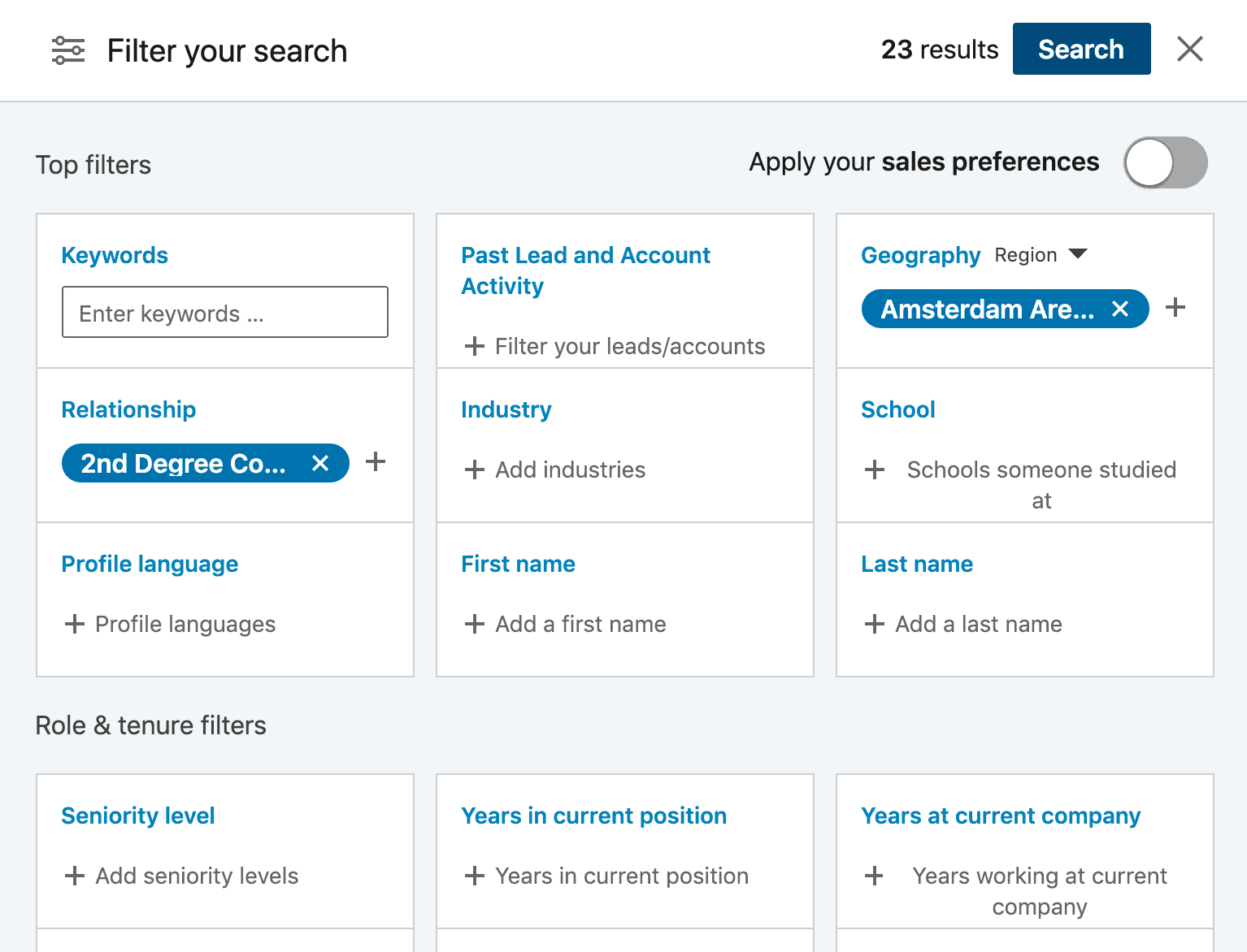 Advanced search to reach more prospects in our LinkedIn outreach