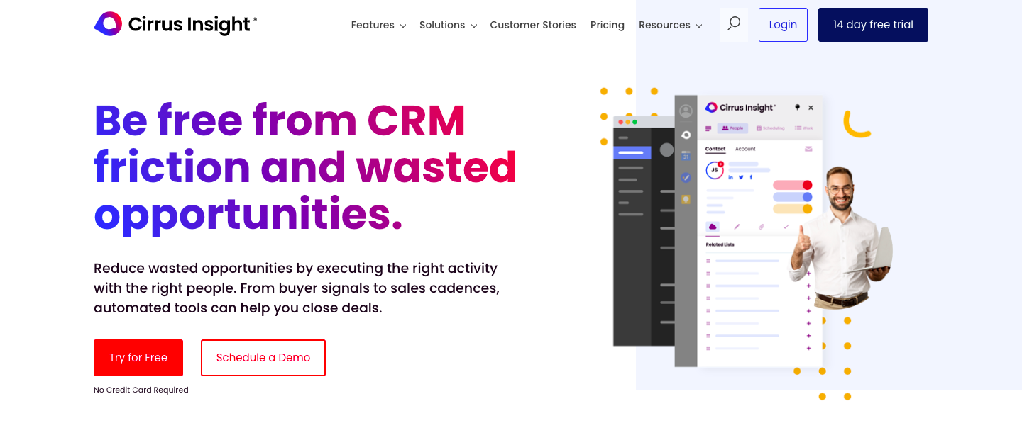 Demo image for Cirrus Insight - one of the sales engagement platforms mentioned in the article