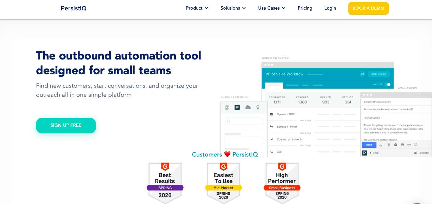 Demo image for PersistIq - One of the sales engagement tools mentioned in the article