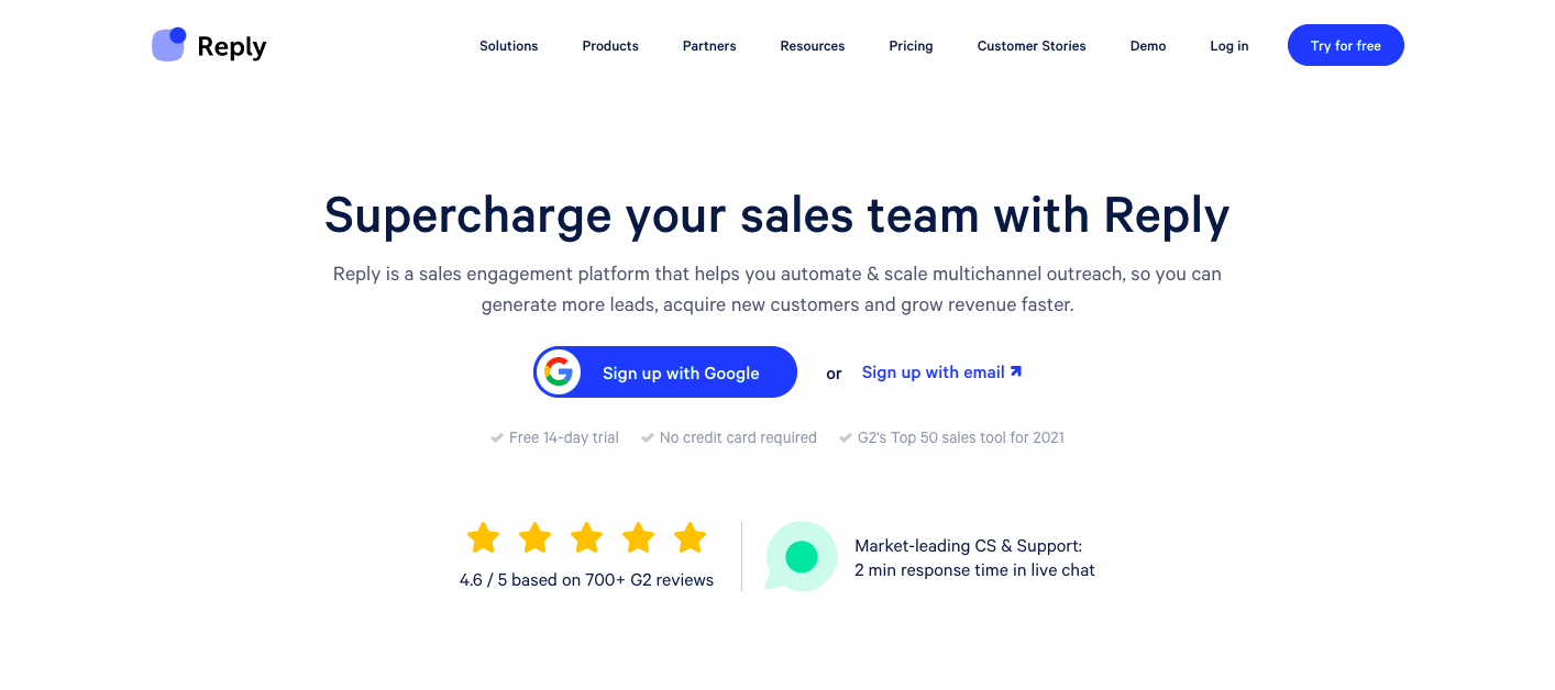 Demo image for reply.io - one of the sales engagement platforms mentioned in the article