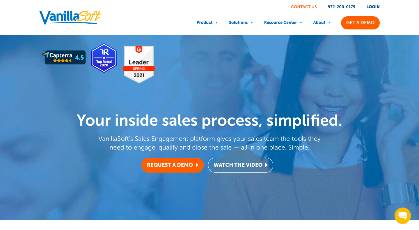 Demo image for VanillaSoft - one of the sales engagement platforms mentioned in the article