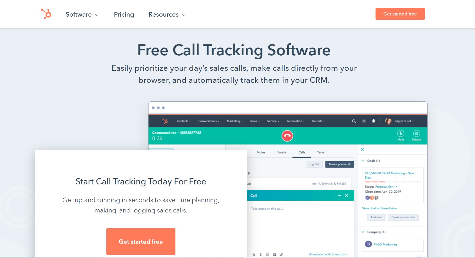 Landing page screenshot of Hubspot Sales Hub, one of the multichannel outreach tools mentioned in the article.