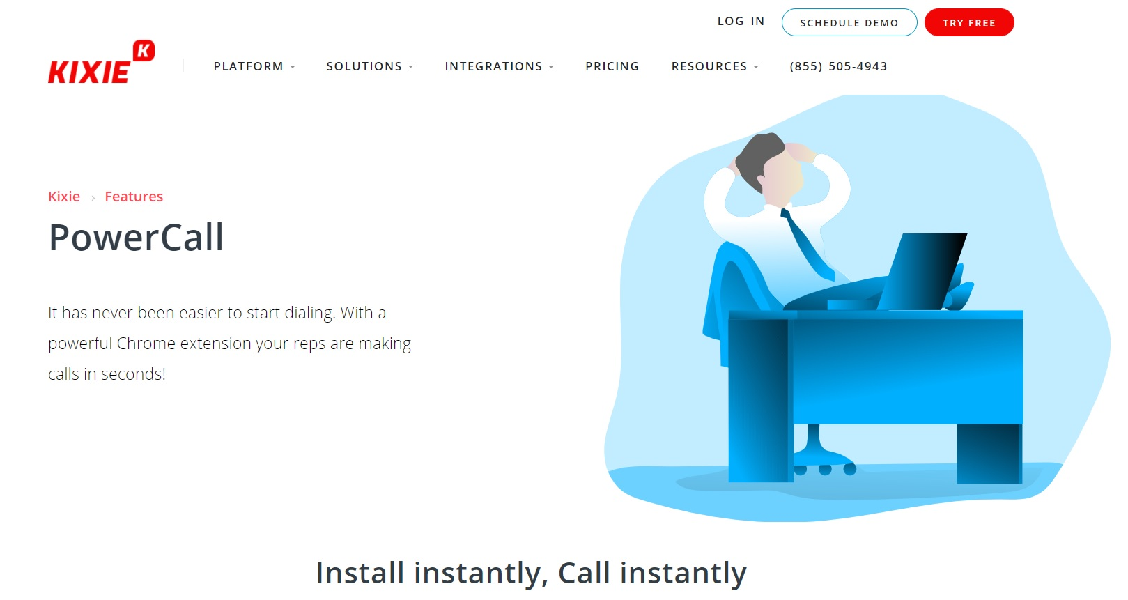 The landing page screenshot of Kixie PowerCall, one of the cold calling tools mentioned in the blog post.