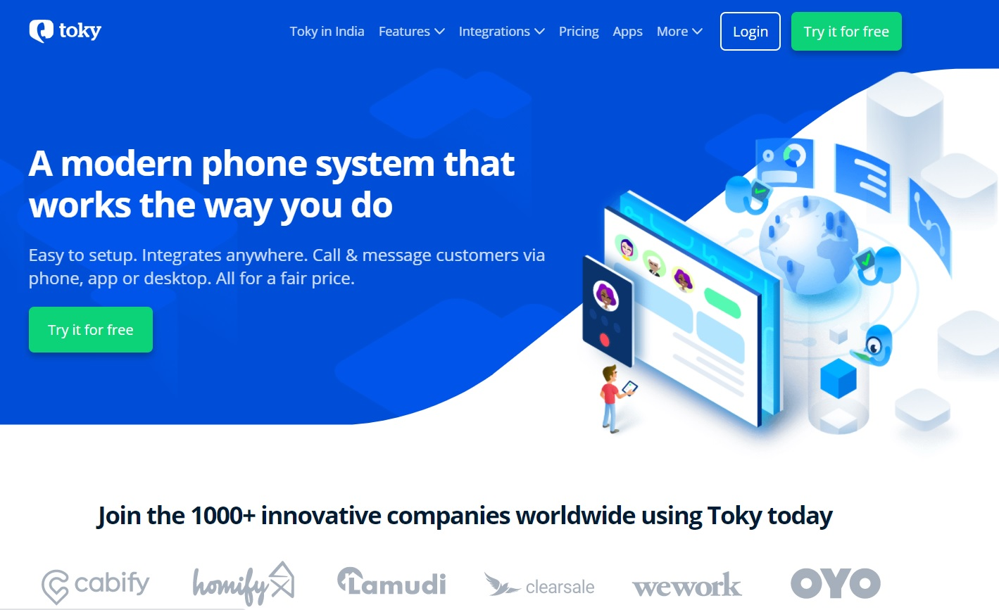 The landing page screenshot of Toky, one of the cold calling software included in the blog post.
