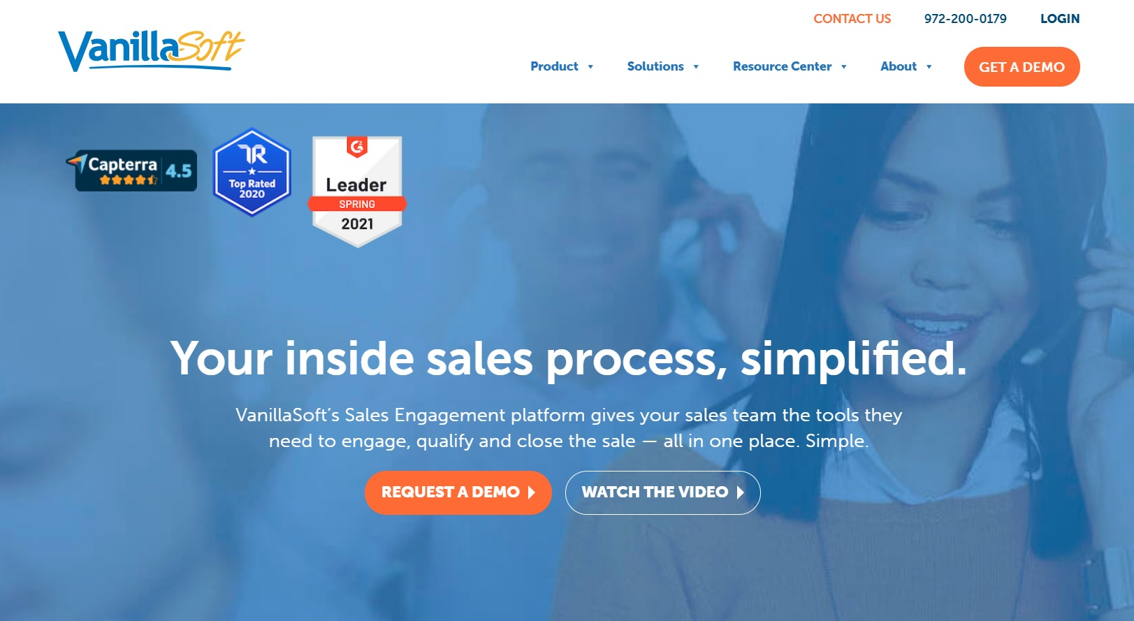 Landing page screenshot of VanillaSoft, one of the cold calling software mentioned in the article.