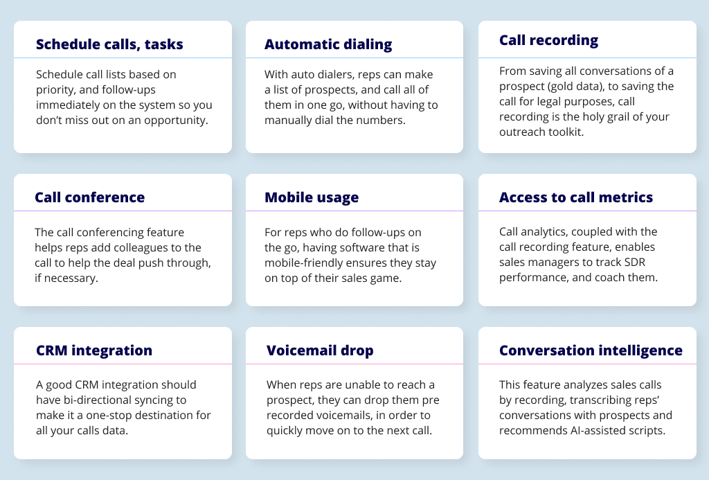 A visual of all the features to look for in a cold calling tool.