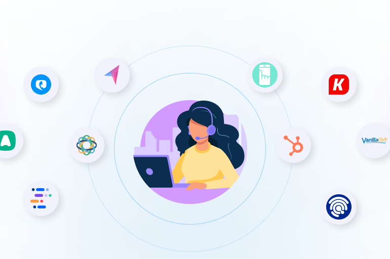 Featured image of cold calling tools listicle. A person in the center of the image is making a call, while there are logos of multiple cold calling software revolving around her.