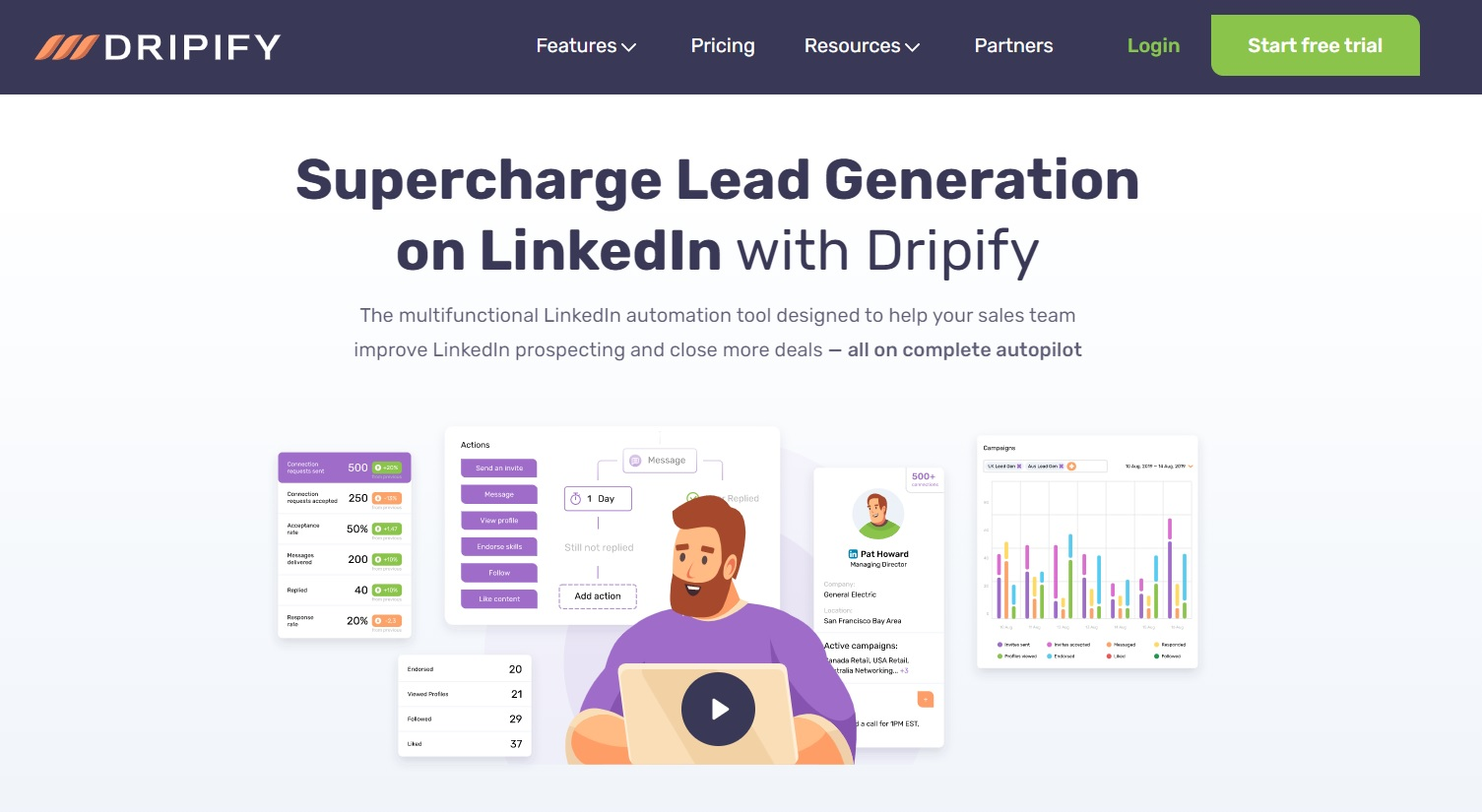 A screenshot of LinkedIn automation tool, Dripify's landing page.