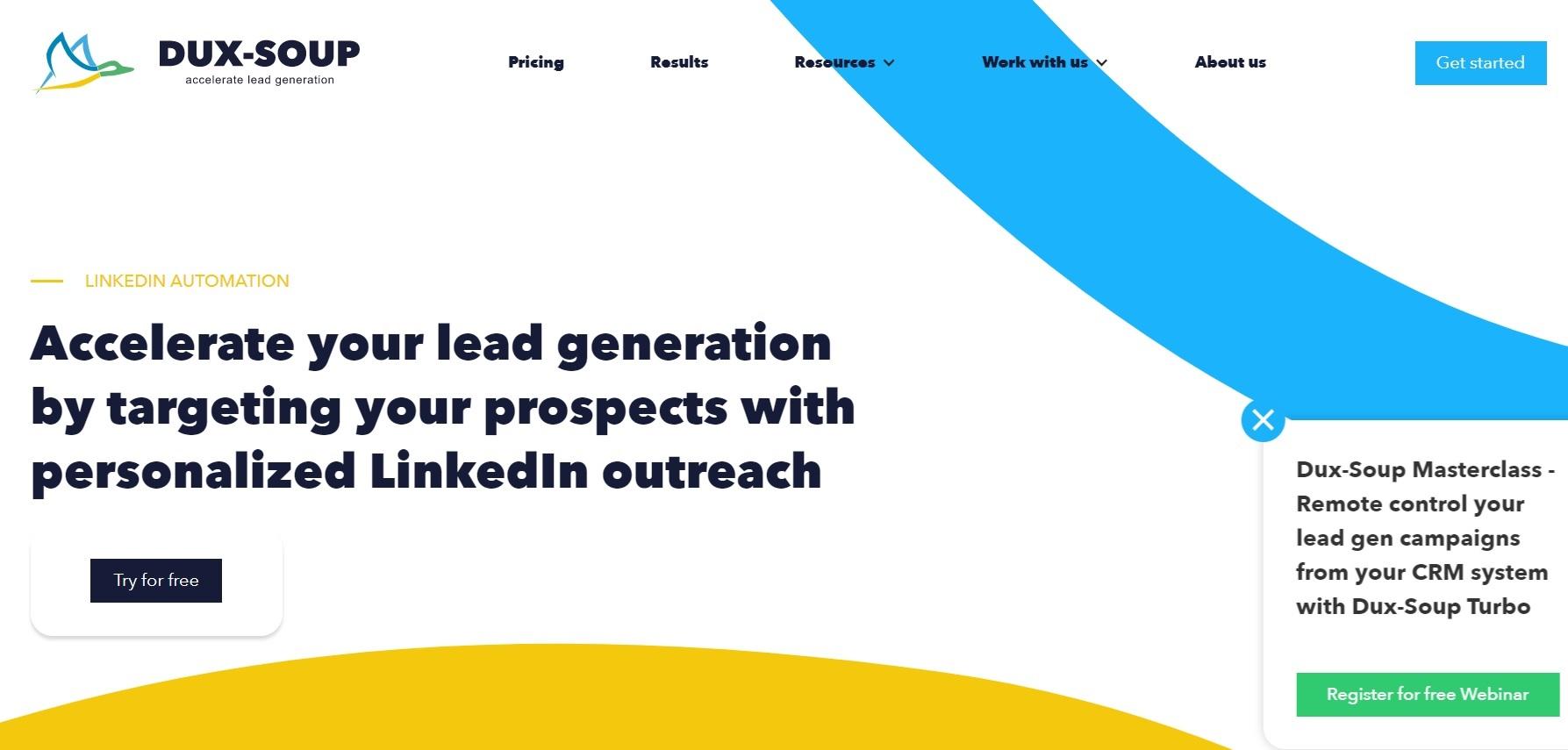 A screenshot of LinkedIn automation tool, Duxsoup.