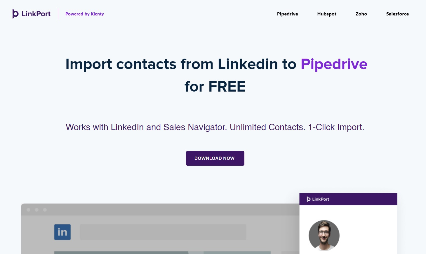 A screenshot of LinkedIn prospecting tool, Linkport's landing page.