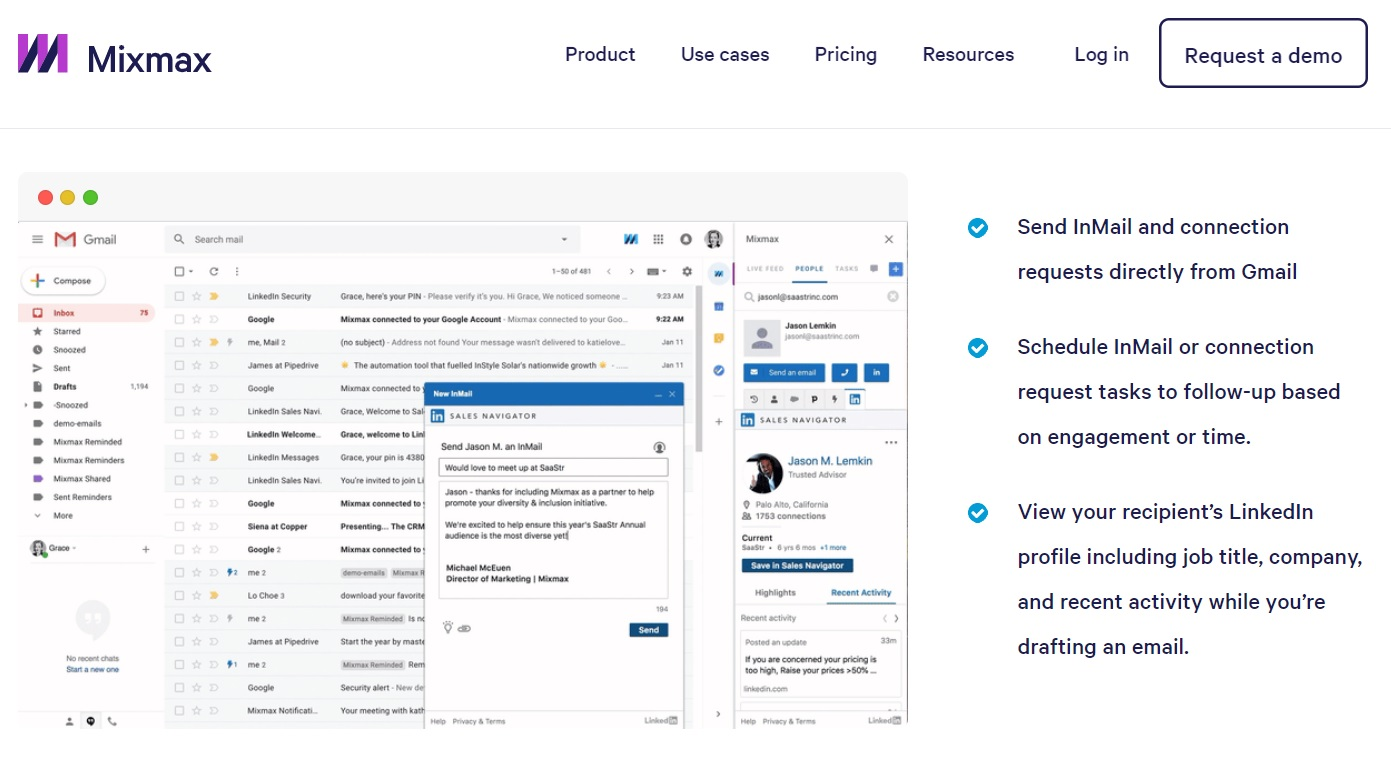 A screenshot of Mixmax landing page that shows visitors how the LinkedIn integration with Gmail will look like.