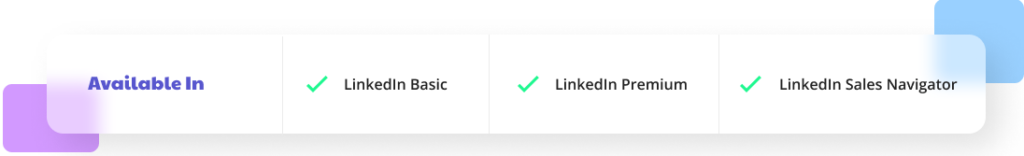 A picture showing availability of tool with different LinkedIn accounts.