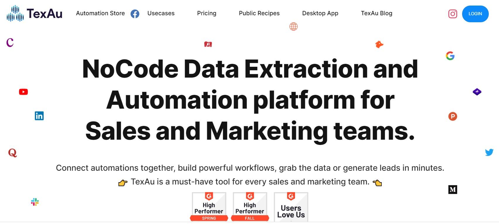 A screenshot of a LinkedIn automation tool, Texau's landing page.