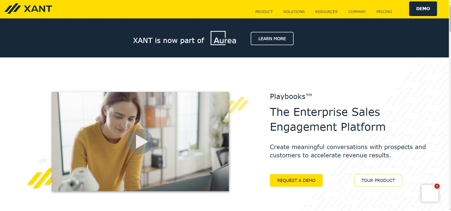 A screenshot of Xant's homepage that depicts what they have to offer.