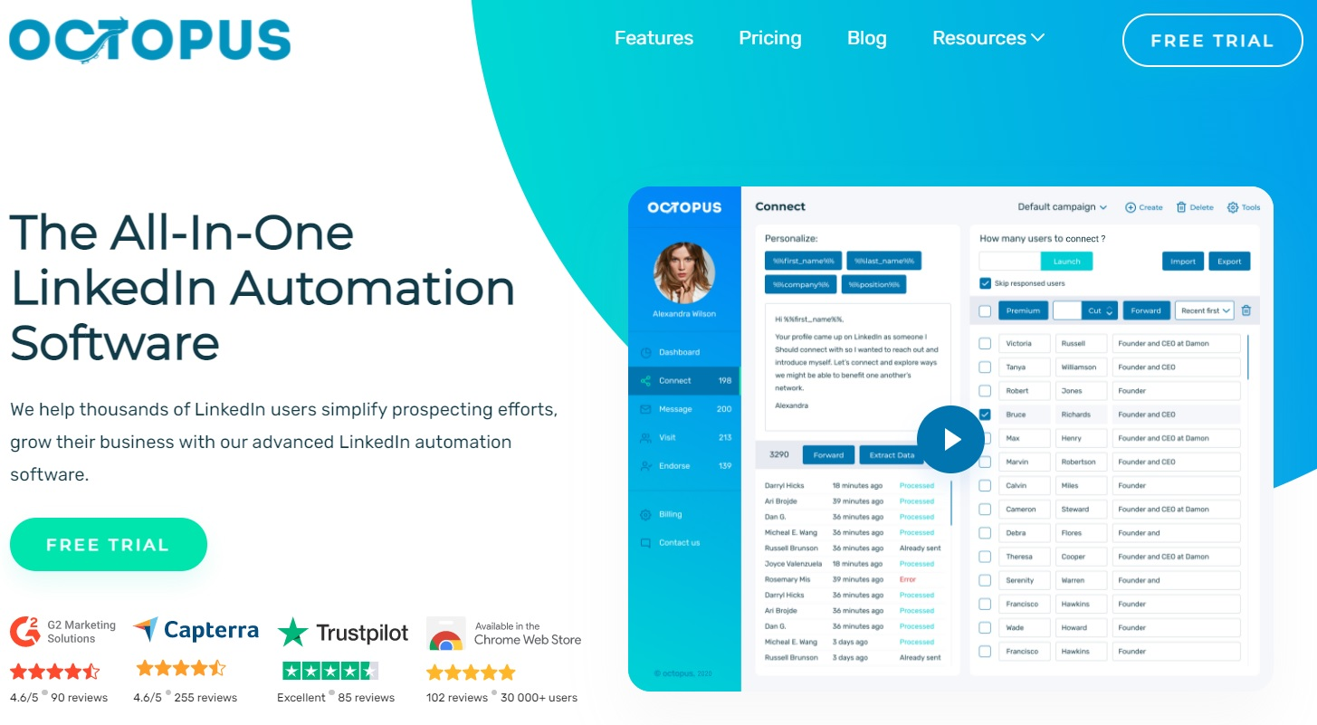 A screenshot of LinkedIn automation tool, Octopus' landing page.