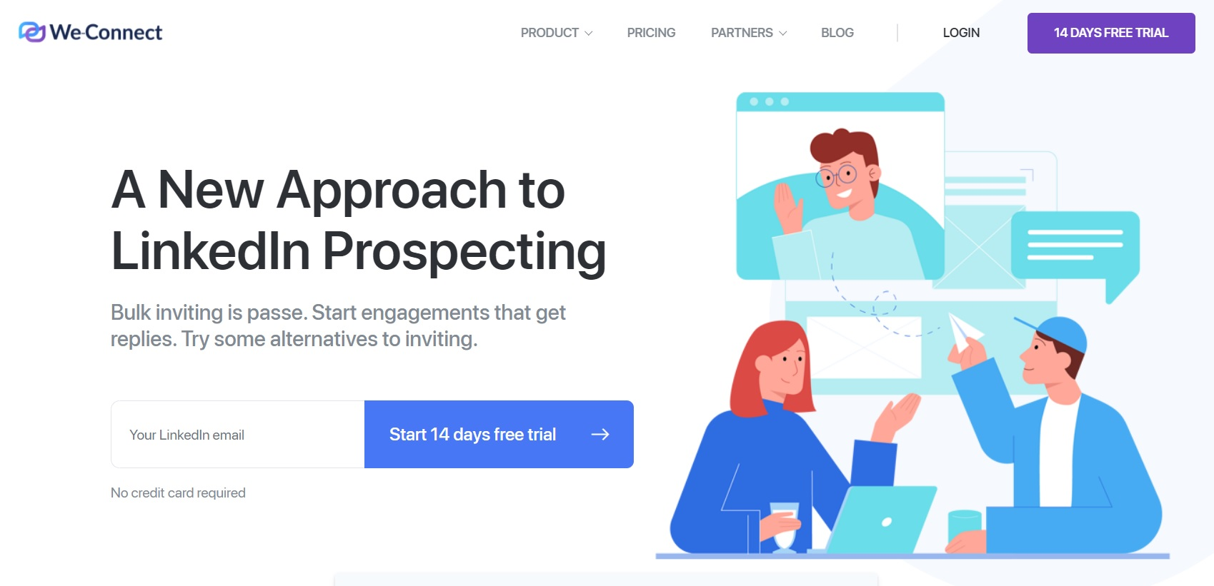 A screenshot of We-Connect website's landing page. It shows how they prospect on LinkedIn.
