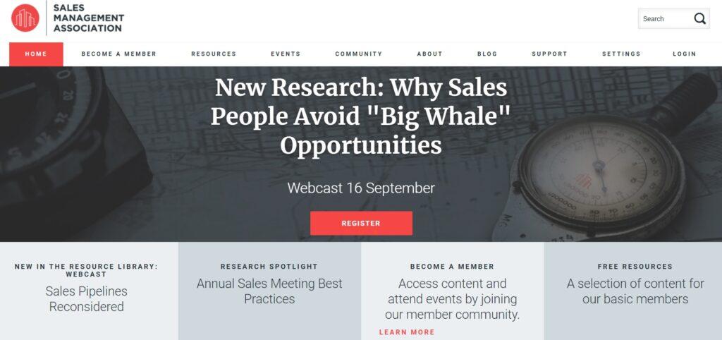 A screenshot of Sales Management Association's website.